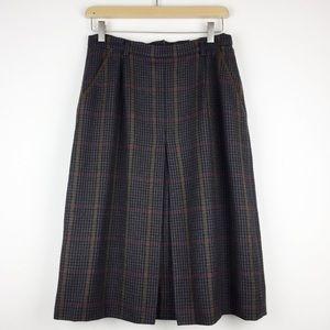 Vintage mini houndstooth and plaid dark wool skirt